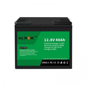 12.8V 40Ah LiFePO4 ტყვიის მჟავის შემცვლელი ლითიუმის იონური ბატარეის პაკეტი 12V 40Ah